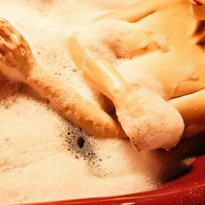 beautiful massage girl in bathtub